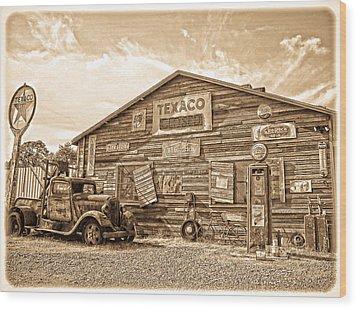 Vintage Service Station Wood Print by Steve McKinzie