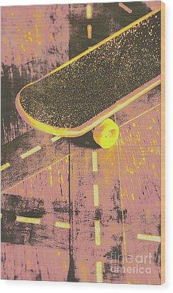 Vintage Skateboard Ruling The Road Wood Print