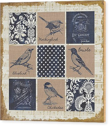 Vintage Songbird Patch 2 Wood Print by Debbie DeWitt
