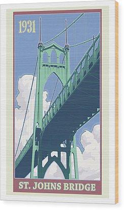 Vintage St. Johns Bridge Travel Poster Wood Print by Mitch Frey