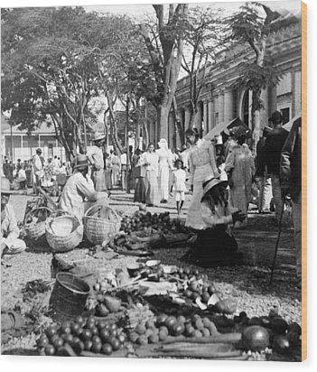 Vintage Street Scene In Ponce - Puerto Rico - C 1899 Wood Print by International  Images