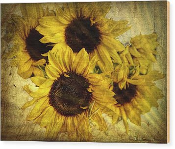 Vintage Sunflowers Wood Print by Wallaroo Images