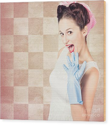 Vintage Surprised Pinup Woman Doing Housework Wood Print by Jorgo Photography - Wall Art Gallery