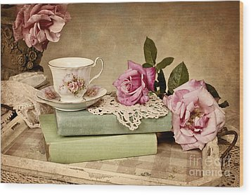 Wood Print featuring the photograph Vintage Tea by Cheryl Davis
