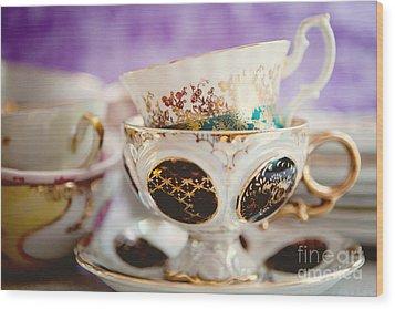 Vintage Teacups Wood Print by Kim Fearheiley