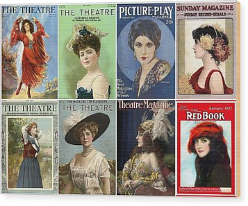 Vintage Theatre Magazine Covers Wood Print by Don Struke