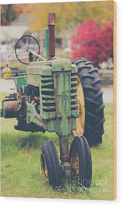 Vintage Tractor Autumn Wood Print by Edward Fielding