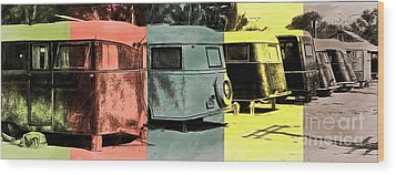 Wood Print featuring the painting Sarasota Series Vintage Trailer Park Pop Art by Edward Fielding