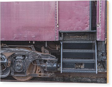 Wood Print featuring the photograph Vintage Train Car Steps by Terry DeLuco