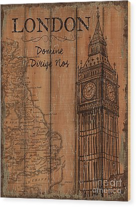 Vintage Travel London Wood Print by Debbie DeWitt