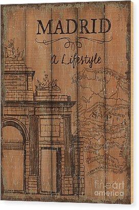 Wood Print featuring the painting Vintage Travel Madrid by Debbie DeWitt