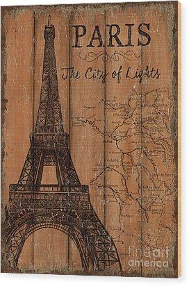 Wood Print featuring the painting Vintage Travel Paris by Debbie DeWitt