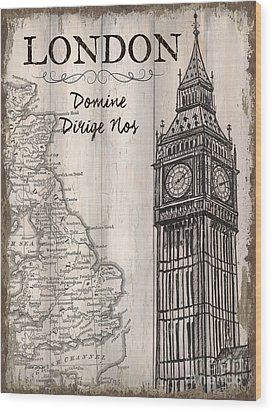Vintage Travel Poster London Wood Print by Debbie DeWitt