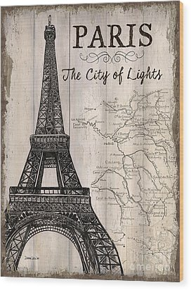 Vintage Travel Poster Paris Wood Print by Debbie DeWitt