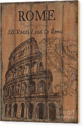Wood Print featuring the painting Vintage Travel Rome by Debbie DeWitt