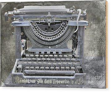 Vintage Typewriter Photo Paint Wood Print