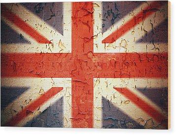 Vintage Union Jack Wood Print by Jane Rix