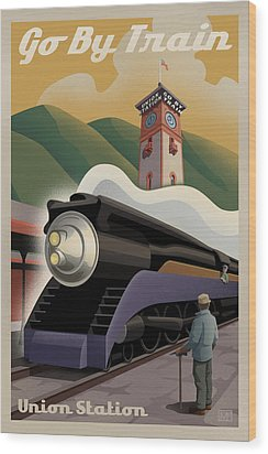 Vintage Union Station Train Poster Wood Print by Mitch Frey
