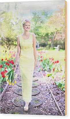 Vintage Val In Tulips Wood Print