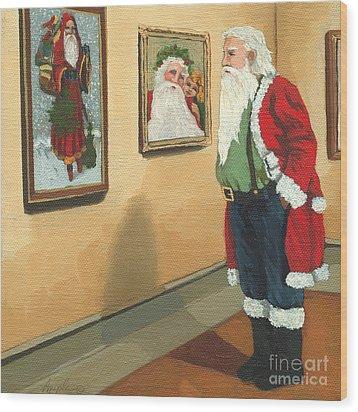 Vintage Victorian - Museum Santa Wood Print by Linda Apple