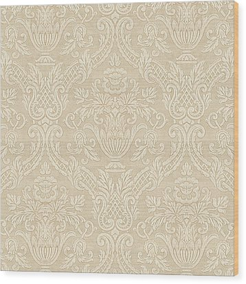 Wood Print featuring the digital art Vintage Wallpaper Beige Floral Elegant Damask by Tracie Kaska