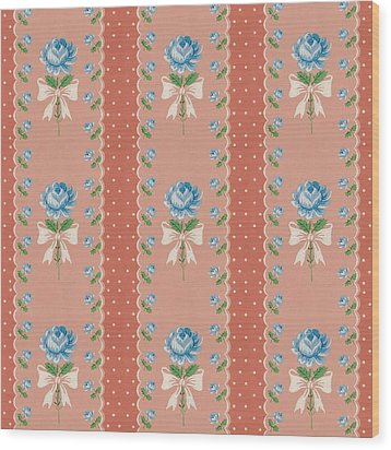 Wood Print featuring the digital art Vintage Wallpaper Blue Roses Coral Polka Dots by Tracie Kaska
