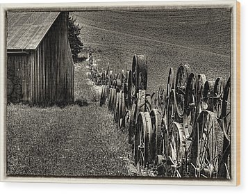 Vintage Wheel Fence Wood Print by David Patterson