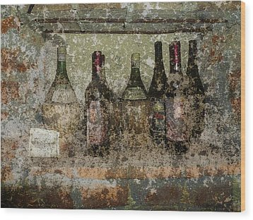 Vintage Wine Bottles - Tuscany  Wood Print by Jen White
