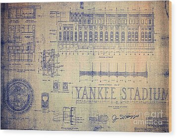 Vintage Yankee Stadium Blueprint Signed By Joe Di Maggio Wood Print by Peter Gumaer Ogden Collection