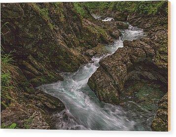 Wood Print featuring the photograph Vintgar Gorge Rapids - Slovenia by Stuart Litoff