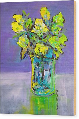 Violet And Lime Wood Print by Mary Schiros