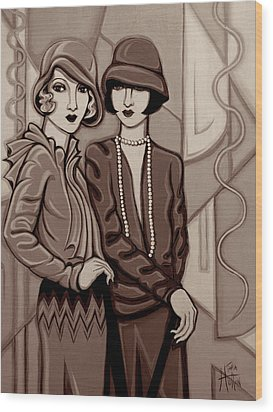 Violet And Rose In Sepia Tone Wood Print by Tara Hutton