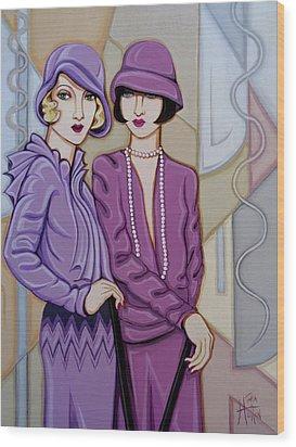 Violet And Rose Wood Print