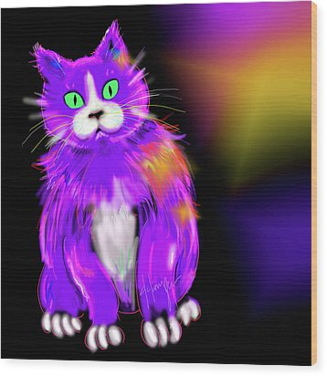 Wood Print featuring the painting Violet Dizzycat by DC Langer