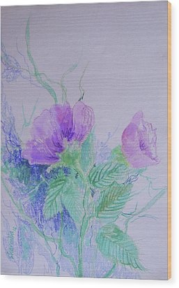Violet Flowers Wood Print by Sharmila L