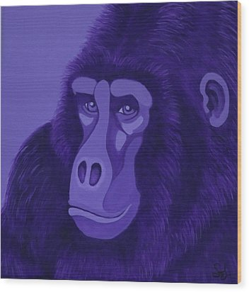 Violet Gorilla Wood Print