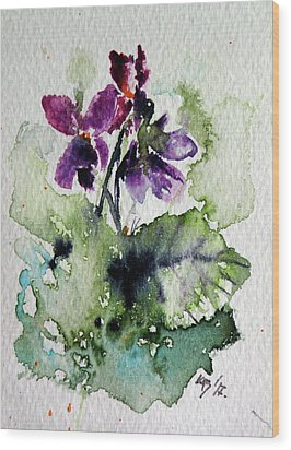 Wood Print featuring the painting Violet Iv by Kovacs Anna Brigitta