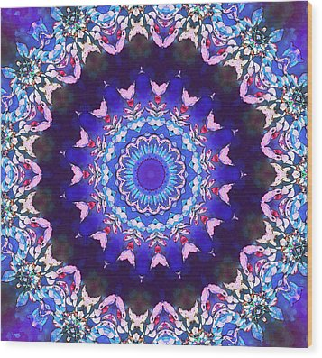 Violet Lace Wood Print by Shawna Rowe