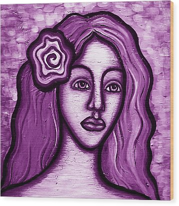 Violet Lady Wood Print by Brenda Higginson