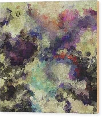 Wood Print featuring the painting Violet Landscape Painting by Ayse Deniz