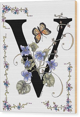Violets And A Viceroy Butterfly Wood Print