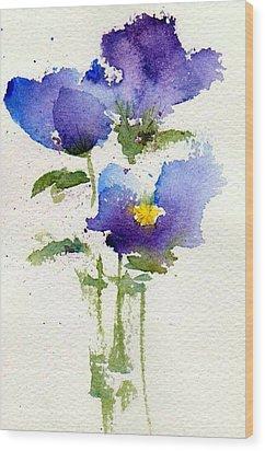 Violets Wood Print by Anne Duke