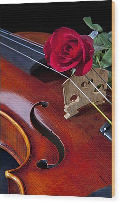 Violin And Red Rose Wood Print by M K  Miller