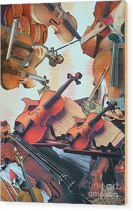 Violin Concierto Wood Print by Judith Espinoza
