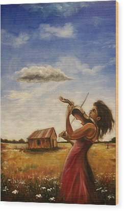 Wood Print featuring the painting Violin by Emery Franklin