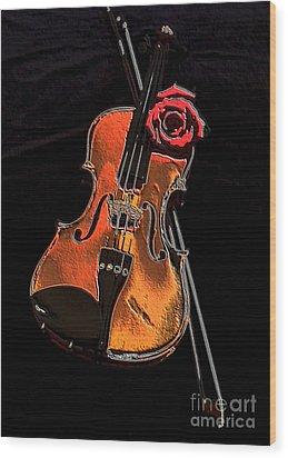 Violin Extreme Wood Print by Marsha Heiken