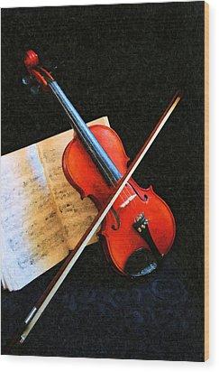 Violin Impression Wood Print by Kristin Elmquist