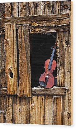 Violin In Window Wood Print by Garry Gay