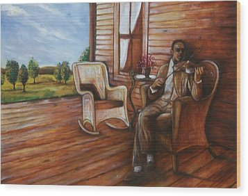 Wood Print featuring the painting Violin Man by Emery Franklin