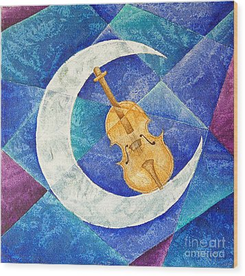 Violin-moon Wood Print by Son Of the Moon